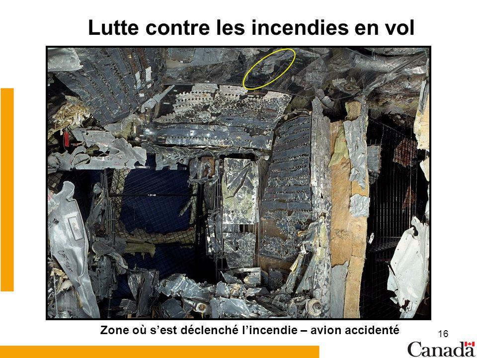 16 Lutte contre les incendies en vol Zone où sest déclenché lincendie – avion accidenté