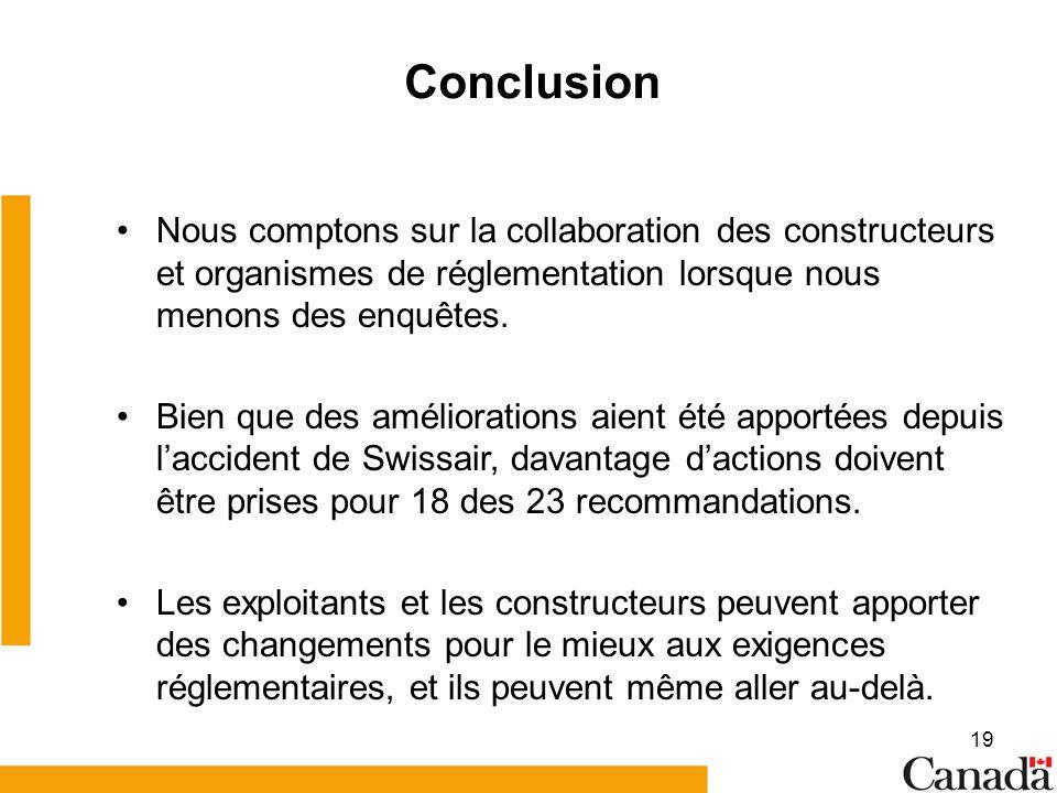 19 Conclusion Nous comptons sur la collaboration des constructeurs et organismes de réglementation lorsque nous menons des enquêtes. Bien que des amél