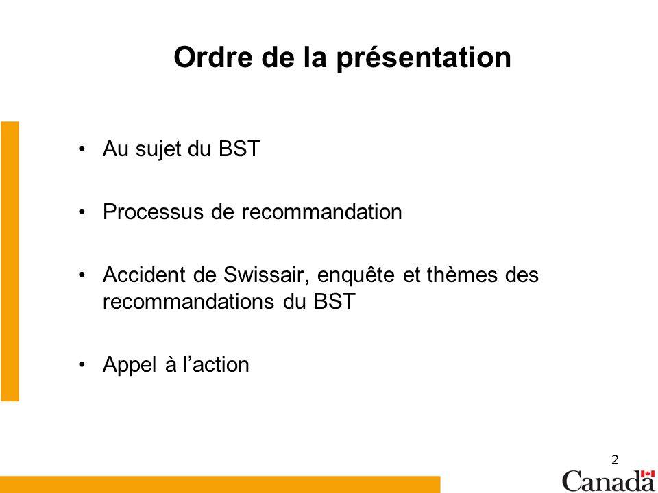 2 Ordre de la présentation Au sujet du BST Processus de recommandation Accident de Swissair, enquête et thèmes des recommandations du BST Appel à lact