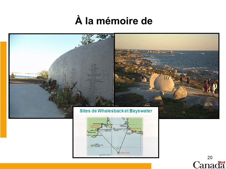 20 À la mémoire de Sites de Whalesback et Bayswater