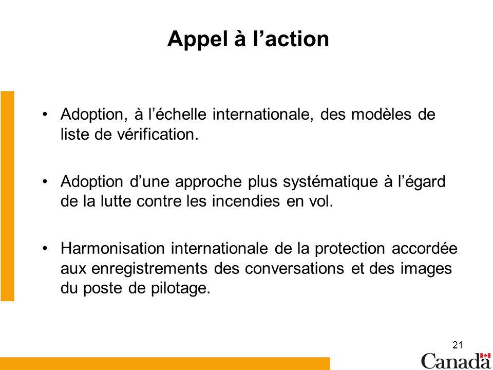 21 Appel à laction Adoption, à léchelle internationale, des modèles de liste de vérification. Adoption dune approche plus systématique à légard de la