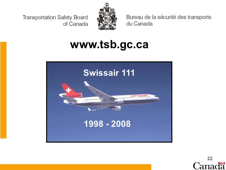 22 www.tsb.gc.ca 1998 - 2008 Swissair 111