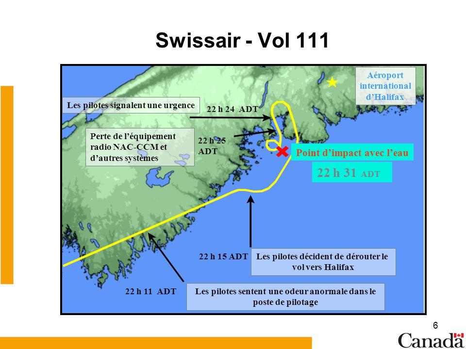 6 Swissair - Vol 111 Les pilotes sentent une odeur anormale dans le poste de pilotage 22 h 11 ADT Les pilotes décident de dérouter le vol vers Halifax