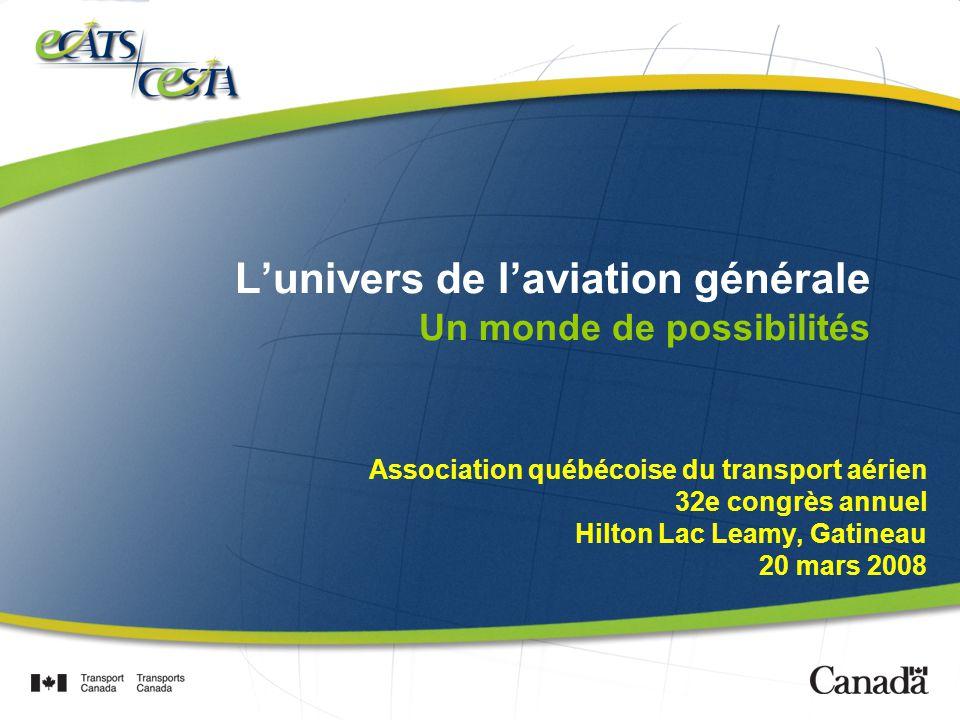 Lunivers de laviation générale Un monde de possibilités Association québécoise du transport aérien 32e congrès annuel Hilton Lac Leamy, Gatineau 20 mars 2008