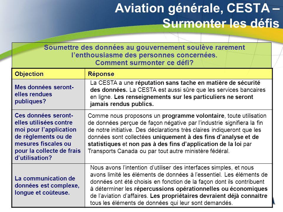 Aviation générale, CESTA – Surmonter les défis Soumettre des données au gouvernement soulève rarement lenthousiasme des personnes concernées.