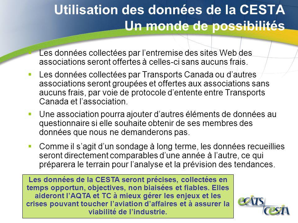 Utilisation des données de la CESTA Un monde de possibilités Les données collectées par lentremise des sites Web des associations seront offertes à celles-ci sans aucuns frais.