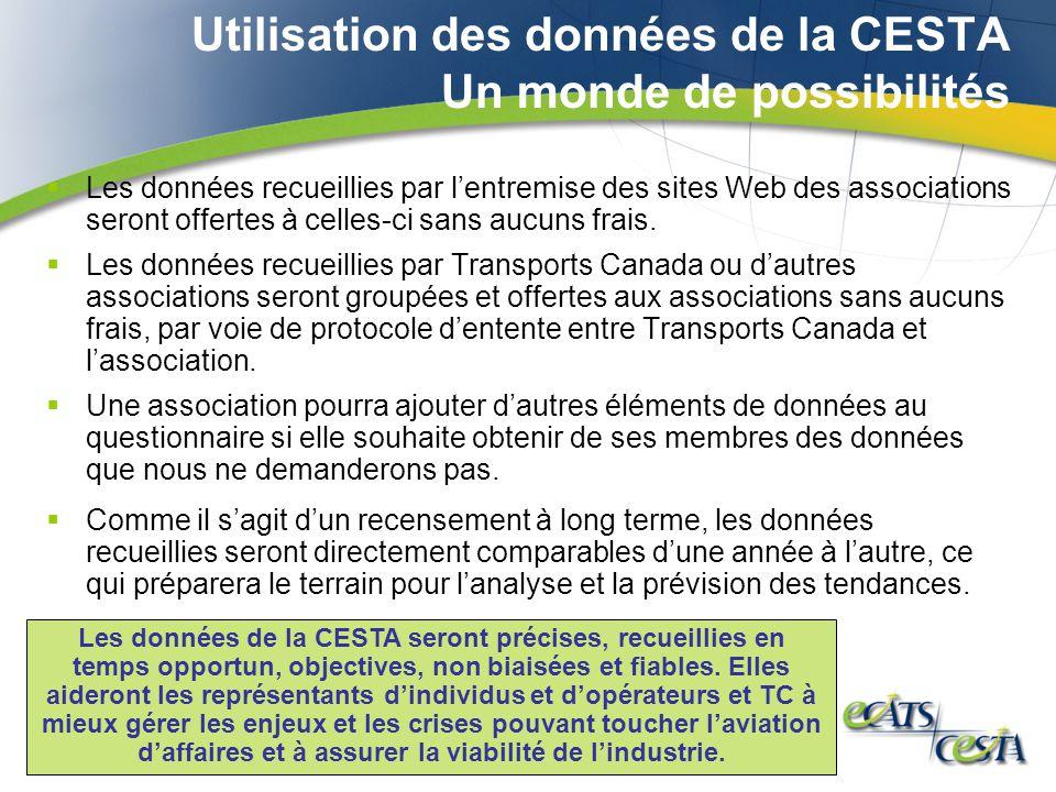 Utilisation des données de la CESTA Un monde de possibilités Les données recueillies par lentremise des sites Web des associations seront offertes à celles-ci sans aucuns frais.