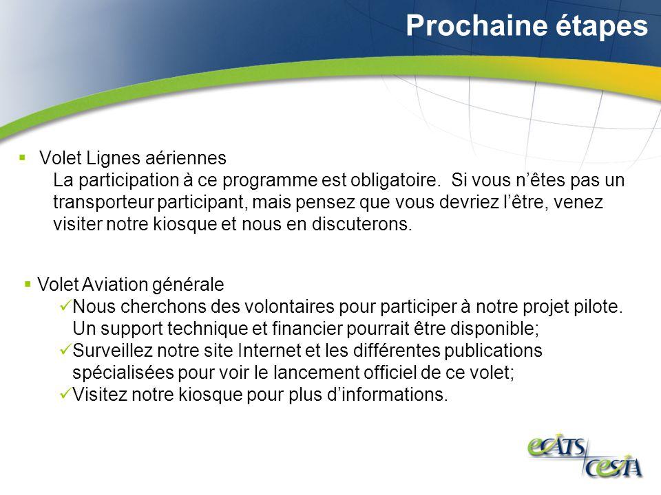 Prochaine étapes Volet Lignes aériennes La participation à ce programme est obligatoire.