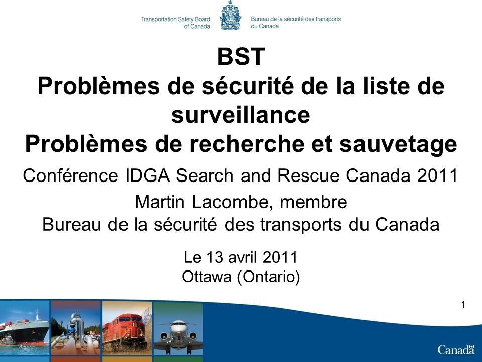 BST Problèmes de sécurité de la liste de surveillance Problèmes de recherche et sauvetage Conférence IDGA Search and Rescue Canada 2011 Martin Lacombe, membre Bureau de la sécurité des transports du Canada Le 13 avril 2011 Ottawa (Ontario) 1