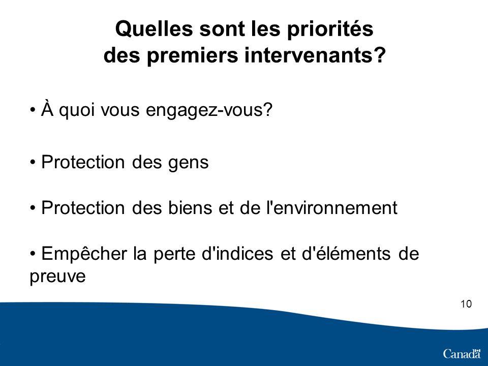 Quelles sont les priorités des premiers intervenants.