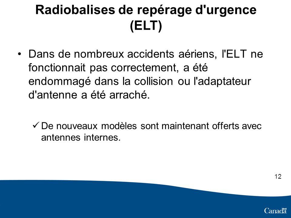 Radiobalises de repérage d urgence (ELT) Dans de nombreux accidents aériens, l ELT ne fonctionnait pas correctement, a été endommagé dans la collision ou l adaptateur d antenne a été arraché.