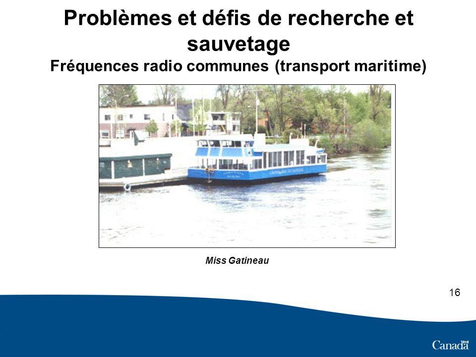 Problèmes et défis de recherche et sauvetage Fréquences radio communes (transport maritime) Déraillement d un train de travaux Miss Gatineau 16