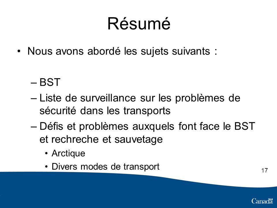 Résumé Nous avons abordé les sujets suivants : –BST –Liste de surveillance sur les problèmes de sécurité dans les transports –Défis et problèmes auxquels font face le BST et rechreche et sauvetage Arctique Divers modes de transport 17