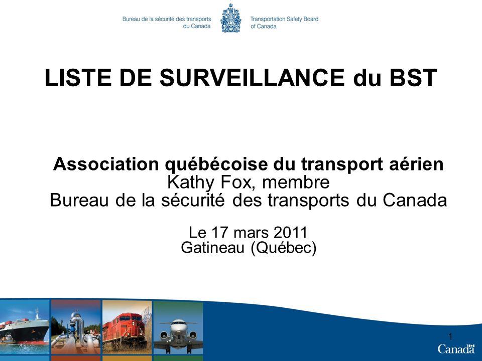 LISTE DE SURVEILLANCE du BST Association québécoise du transport aérien Kathy Fox, membre Bureau de la sécurité des transports du Canada Le 17 mars 2011 Gatineau (Québec) 1