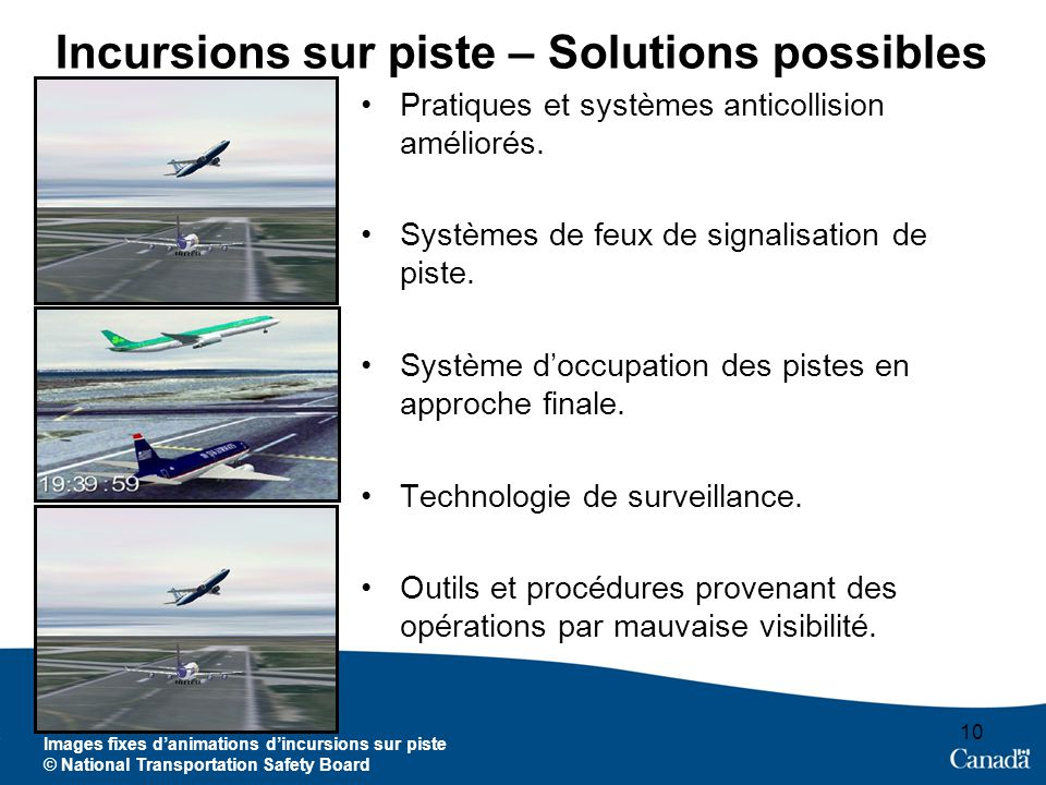 10 Images fixes danimations dincursions sur piste © National Transportation Safety Board Incursions sur piste – Solutions possibles Pratiques et systè