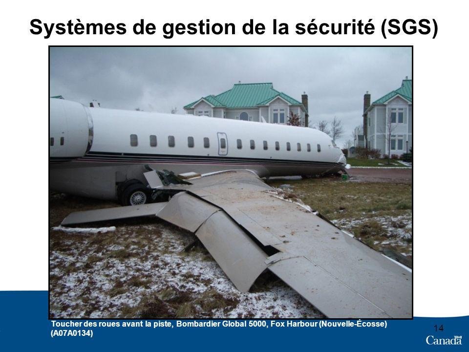 14 Systèmes de gestion de la sécurité (SGS) Toucher des roues avant la piste, Bombardier Global 5000, Fox Harbour (Nouvelle-Écosse) (A07A0134)