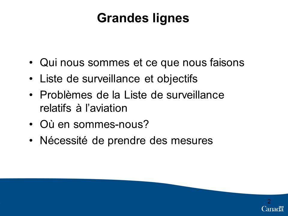 Grandes lignes Qui nous sommes et ce que nous faisons Liste de surveillance et objectifs Problèmes de la Liste de surveillance relatifs à laviation Où en sommes-nous.