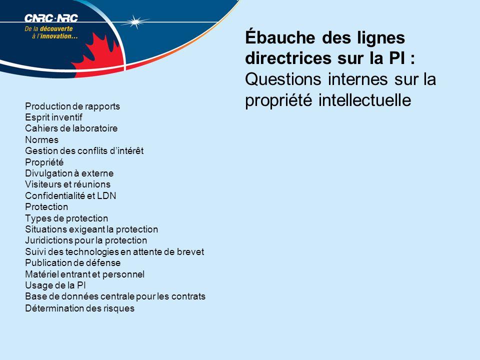 Ébauche des lignes directrices sur la PI : Questions internes sur la propriété intellectuelle Production de rapports Esprit inventif Cahiers de labora