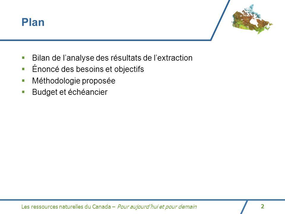 Les ressources naturelles du Canada – Pour aujourdhui et pour demain2 Plan Bilan de lanalyse des résultats de lextraction Énoncé des besoins et objectifs Méthodologie proposée Budget et échéancier