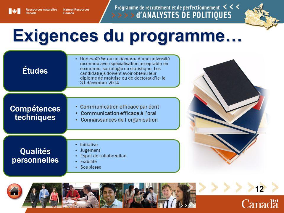 Exigences du programme… Une maîtrise ou un doctorat dune université reconnue avec spécialisation acceptable en économie, sociologie ou statistique.