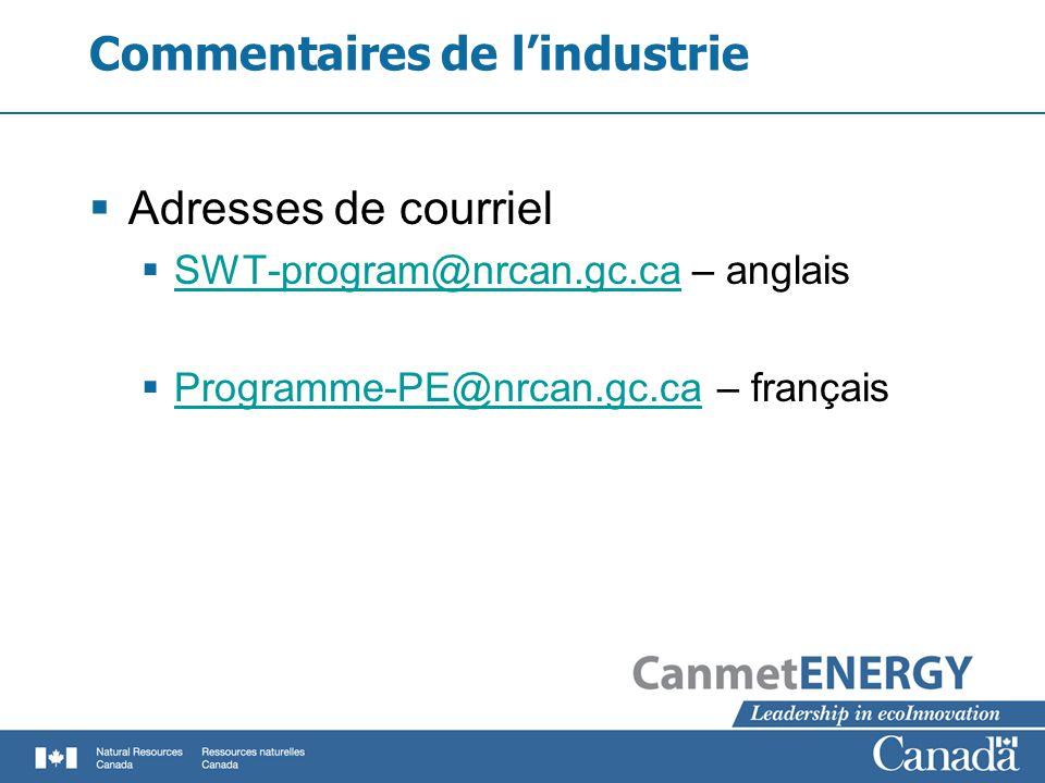 Commentaires de lindustrie Adresses de courriel SWT-program@nrcan.gc.ca – anglais SWT-program@nrcan.gc.ca Programme-PE@nrcan.gc.ca – français Programme-PE@nrcan.gc.ca