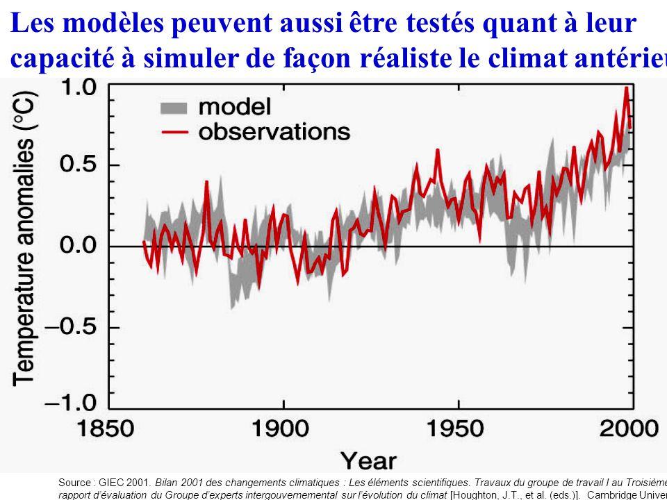 Les modèles peuvent aussi être testés quant à leur capacité à simuler de façon réaliste le climat antérieur Source : GIEC 2001.