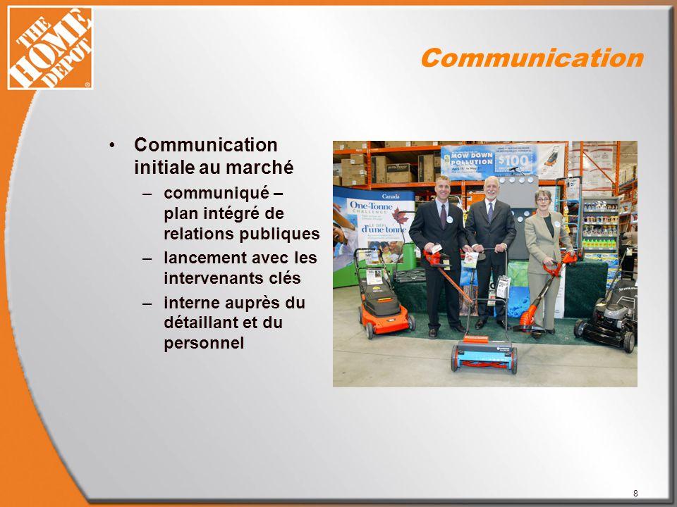 8 Communication Communication initiale au marché –communiqué – plan intégré de relations publiques –lancement avec les intervenants clés –interne auprès du détaillant et du personnel
