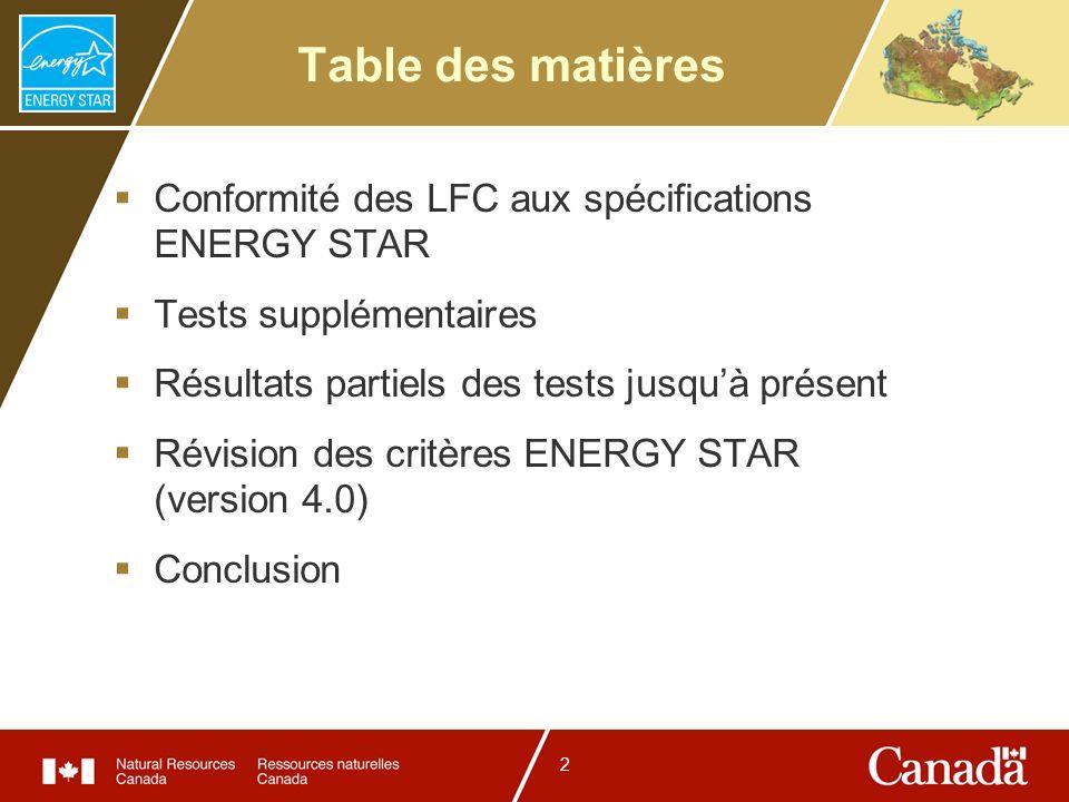 2 Table des matières Conformité des LFC aux spécifications ENERGY STAR Tests supplémentaires Résultats partiels des tests jusquà présent Révision des critères ENERGY STAR (version 4.0) Conclusion