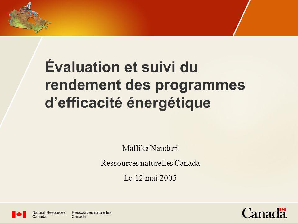 Évaluation et suivi du rendement des programmes defficacité énergétique Mallika Nanduri Ressources naturelles Canada Le 12 mai 2005
