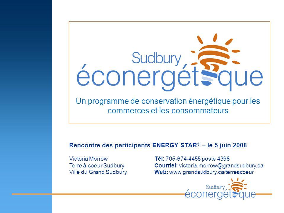 Un programme de conservation énergétique pour les commerces et les consommateurs Rencontre des participants ENERGY STAR ® – le 5 juin 2008 Victoria Mo