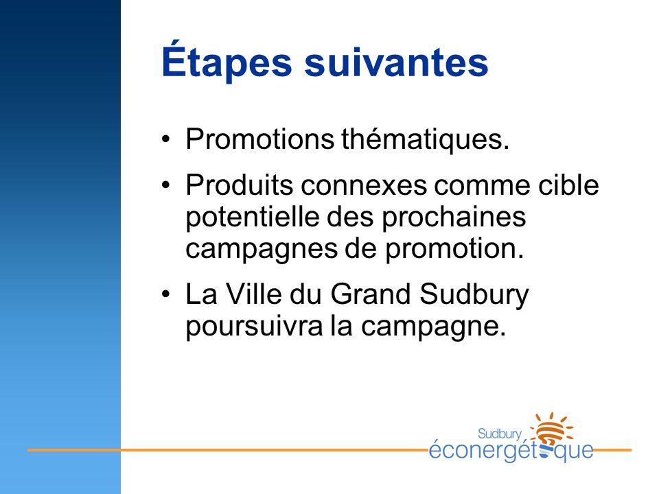 Étapes suivantes Promotions thématiques. Produits connexes comme cible potentielle des prochaines campagnes de promotion. La Ville du Grand Sudbury po