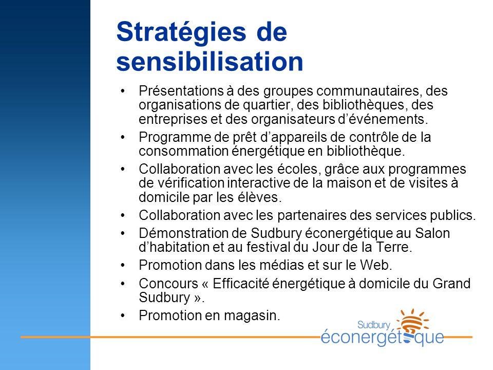 Stratégies de sensibilisation Présentations à des groupes communautaires, des organisations de quartier, des bibliothèques, des entreprises et des org