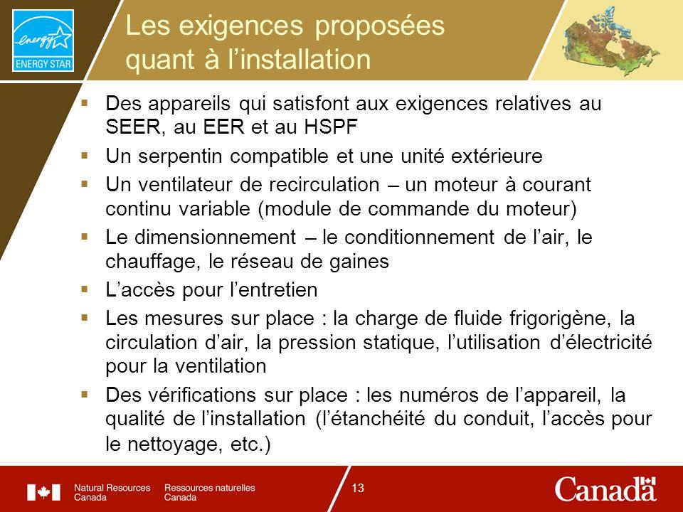 13 Les exigences proposées quant à linstallation Des appareils qui satisfont aux exigences relatives au SEER, au EER et au HSPF Un serpentin compatibl