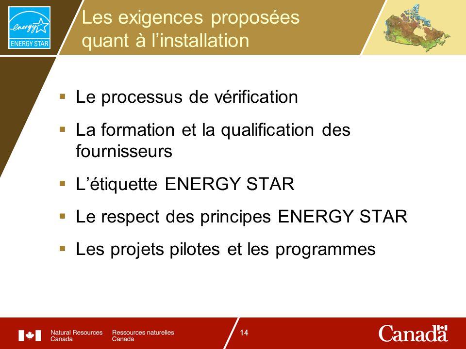 14 Les exigences proposées quant à linstallation Le processus de vérification La formation et la qualification des fournisseurs Létiquette ENERGY STAR