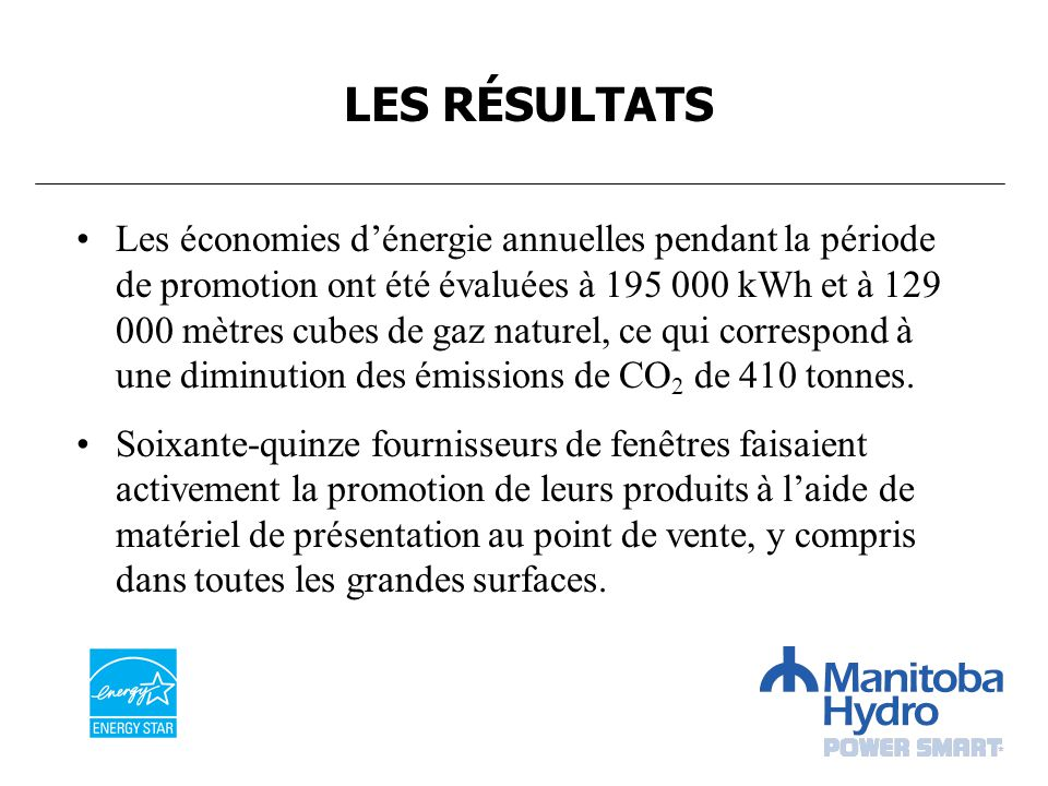 Les économies dénergie annuelles pendant la période de promotion ont été évaluées à 195 000 kWh et à 129 000 mètres cubes de gaz naturel, ce qui corre
