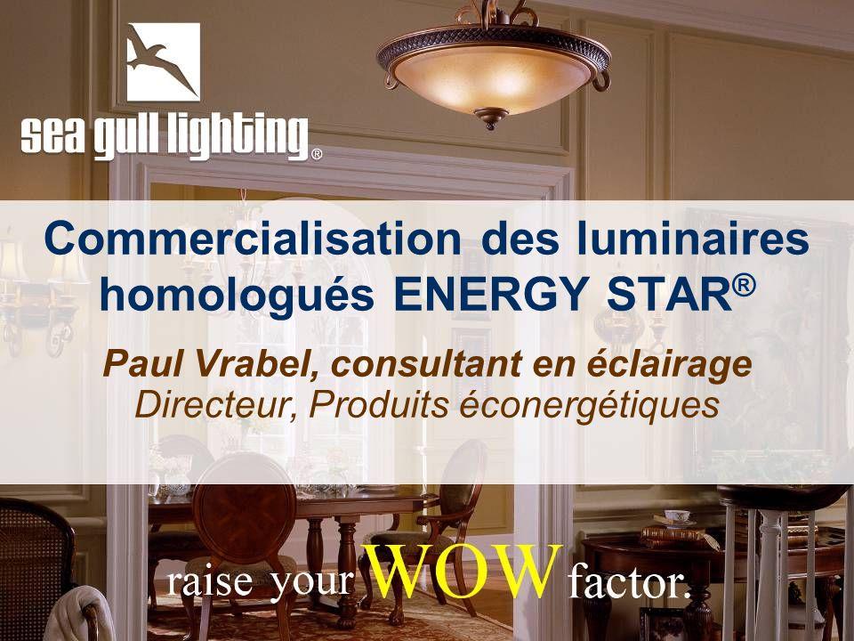 Commercialisation des luminaires homologués ENERGY STAR ® Paul Vrabel, consultant en éclairage Directeur, Produits éconergétiques