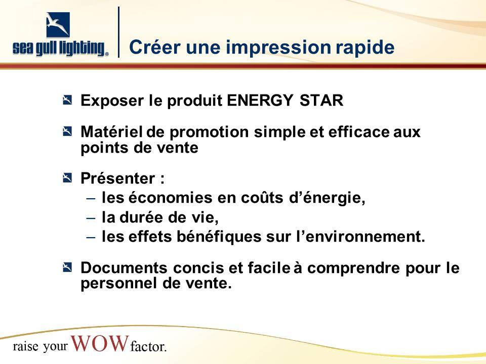 Créer une impression rapide Exposer le produit ENERGY STAR Matériel de promotion simple et efficace aux points de vente Présenter : –les économies en coûts dénergie, –la durée de vie, –les effets bénéfiques sur lenvironnement.