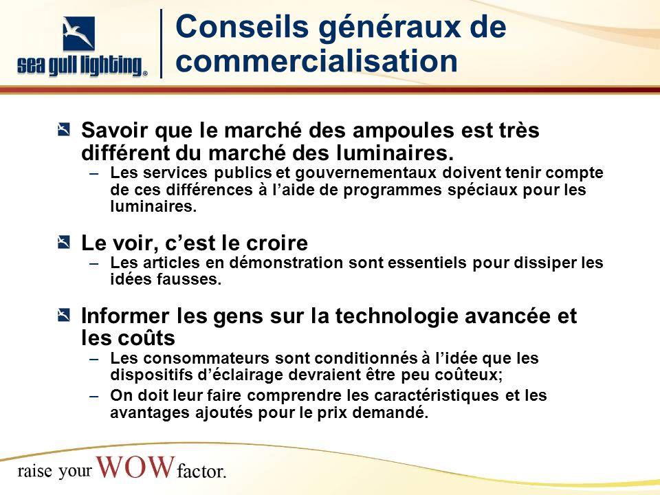 Conseils généraux de commercialisation Savoir que le marché des ampoules est très différent du marché des luminaires.