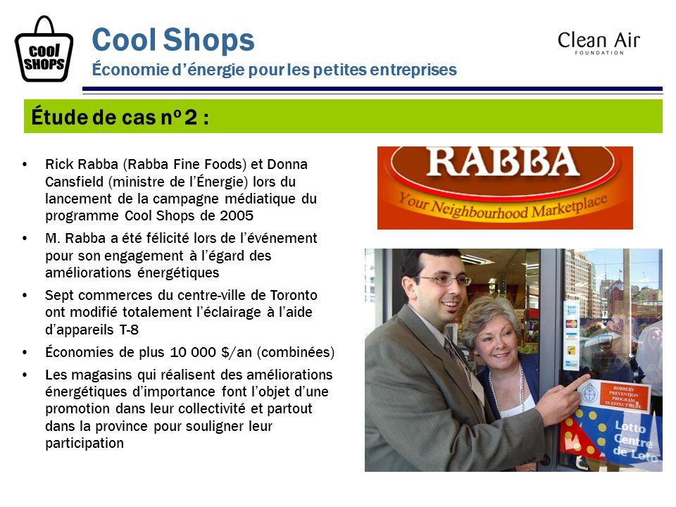 Rick Rabba (Rabba Fine Foods) et Donna Cansfield (ministre de lÉnergie) lors du lancement de la campagne médiatique du programme Cool Shops de 2005 M.