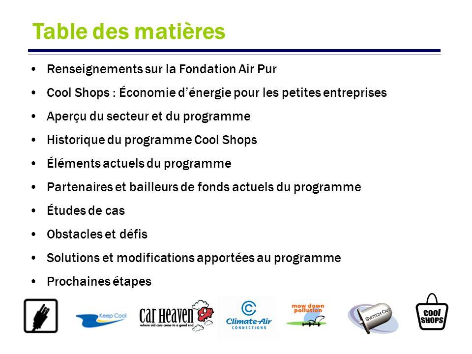 Table des matières Renseignements sur la Fondation Air Pur Cool Shops : Économie dénergie pour les petites entreprises Aperçu du secteur et du program