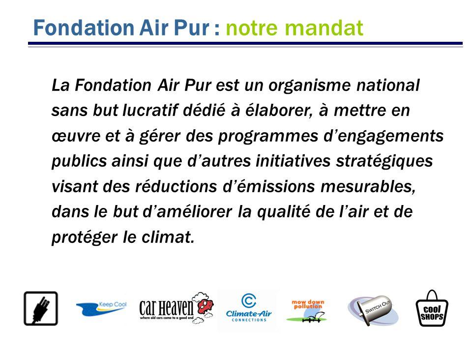 Fondation Air Pur : notre mandat La Fondation Air Pur est un organisme national sans but lucratif dédié à élaborer, à mettre en œuvre et à gérer des p