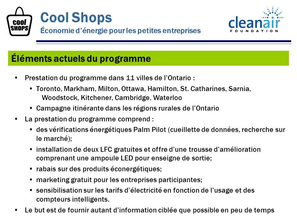 Prestation du programme dans 11 villes de lOntario : Toronto, Markham, Milton, Ottawa, Hamilton, St. Catharines, Sarnia, Woodstock, Kitchener, Cambrid