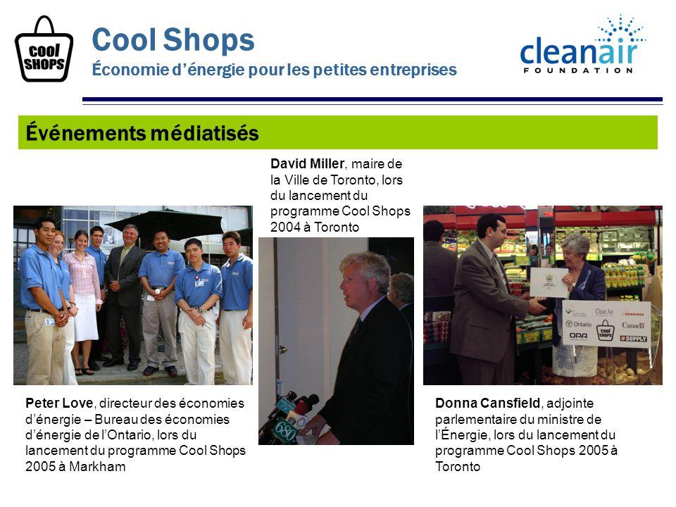 Événements médiatisés Cool Shops Économie dénergie pour les petites entreprises Donna Cansfield, adjointe parlementaire du ministre de lÉnergie, lors