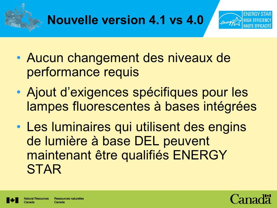 Nouvelle version 4.1 vs 4.0 Aucun changement des niveaux de performance requis Ajout dexigences spécifiques pour les lampes fluorescentes à bases intégrées Les luminaires qui utilisent des engins de lumière à base DEL peuvent maintenant être qualifiés ENERGY STAR