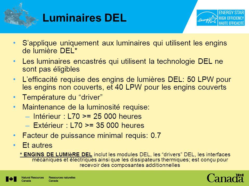 Luminaires DEL Sapplique uniquement aux luminaires qui utilisent les engins de lumière DEL* Les luminaires encastrés qui utilisent la technologie DEL ne sont pas éligibles Lefficacité requise des engins de lumières DEL: 50 LPW pour les engins non couverts, et 40 LPW pour les engins couverts Température du driver Maintenance de la luminosité requise: –Intérieur : L70 >= 25 000 heures –Extérieur : L70 >= 35 000 heures Facteur de puissance minimal requis: 0.7 Et autres * ENGINS DE LUMIèRE DEL inclut les modules DEL, les drivers DEL, les interfaces mécaniques et électriques ainsi que les dissipateurs thermiques; est conçu pour recevoir des composantes additionnelles