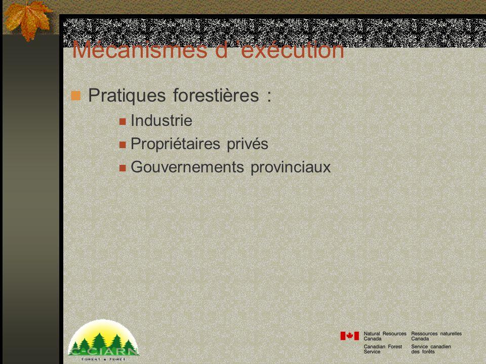 Mécanismes d exécution Pratiques forestières : Industrie Propriétaires privés Gouvernements provinciaux