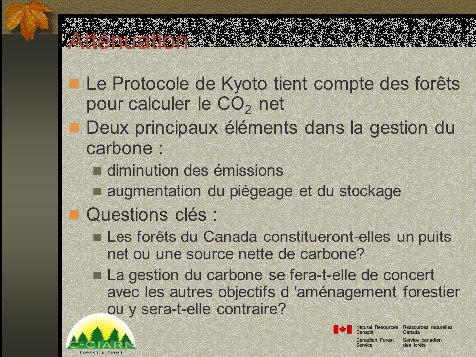 Atténuation Le Protocole de Kyoto tient compte des forêts pour calculer le CO 2 net Deux principaux éléments dans la gestion du carbone : diminution des émissions augmentation du piégeage et du stockage Questions clés : Les forêts du Canada constitueront-elles un puits net ou une source nette de carbone.