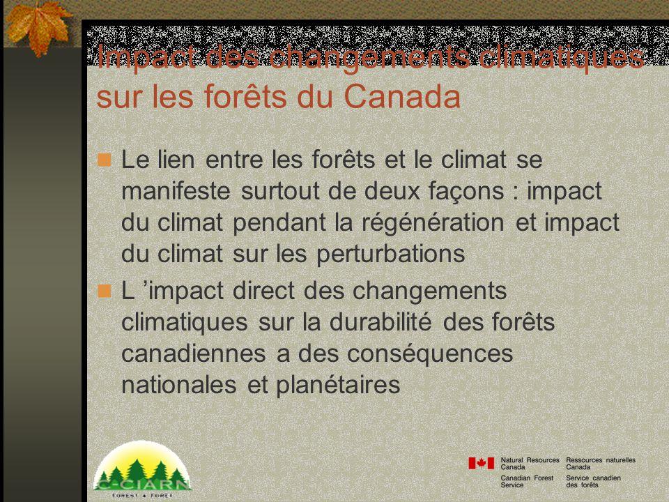 Impact des changements climatiques sur les forêts du Canada Le lien entre les forêts et le climat se manifeste surtout de deux façons : impact du climat pendant la régénération et impact du climat sur les perturbations L impact direct des changements climatiques sur la durabilité des forêts canadiennes a des conséquences nationales et planétaires