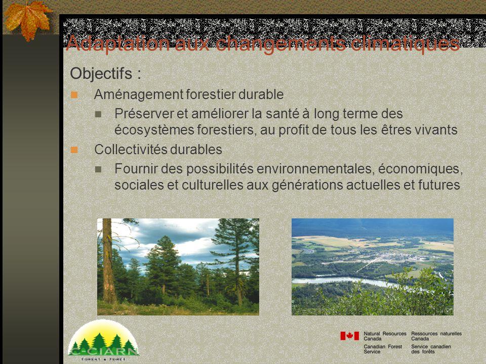 Adaptation aux changements climatiques Objectifs : Aménagement forestier durable Préserver et améliorer la santé à long terme des écosystèmes forestiers, au profit de tous les êtres vivants Collectivités durables Fournir des possibilités environnementales, économiques, sociales et culturelles aux générations actuelles et futures