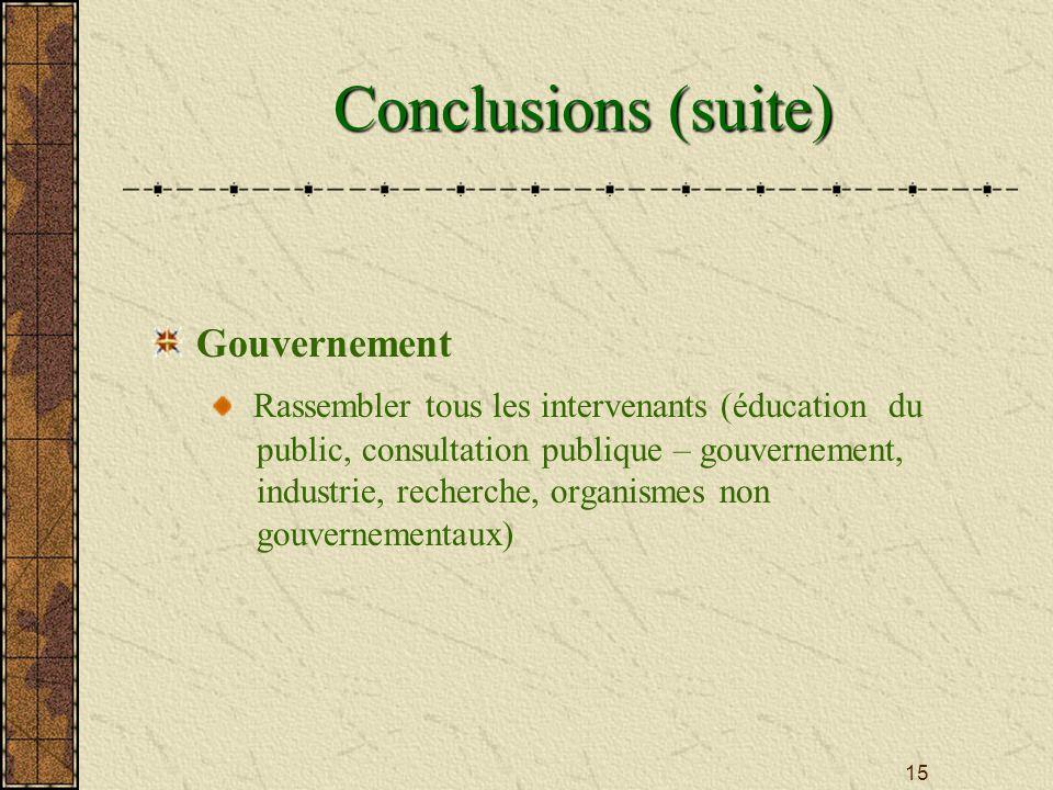 15 Conclusions (suite) Gouvernement Rassembler tous les intervenants (éducation du public, consultation publique – gouvernement, industrie, recherche, organismes non gouvernementaux)